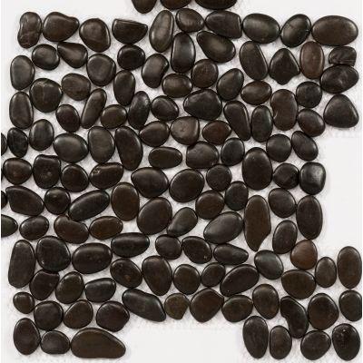 Zwarte keien gekleefd op net 30 x 30 cm